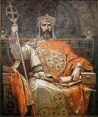 Simeon I (893-927), first emperor of Bulgaria, as imagined in 1927 by the artist Dimiter Gyudjenov